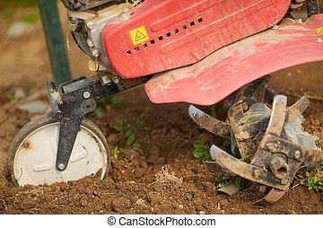 Closeup of a tiller