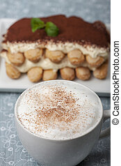closeup of a tiramisu dessert