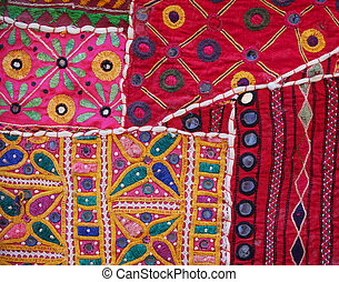 Closeup of a Traditional Indian Wall Tapestry in Jaisalmer