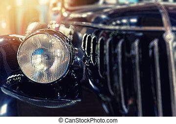 Closeup of a vintage blue car