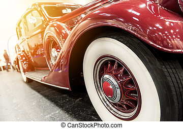 Closeup of a vintage red car