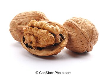 closeup of a walnut isolated on white background