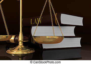 concept of law and justice - closeup of a weight balance and...