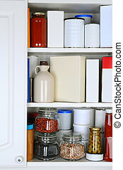Closeup of a Well Stocked Pantry - Closeup of a well stocked...