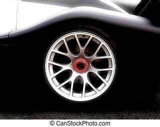 closeup of a wheel of a racing car