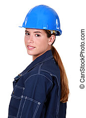 closeup of a woman electrician