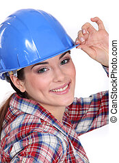 Closeup of a woman in a hardhat