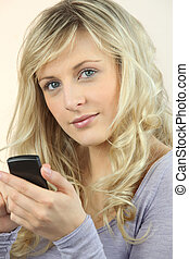 Closeup of a woman with a cellphone