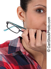 Closeup of a woman with glasses