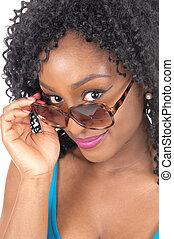Closeup of african American woman.