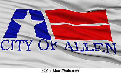 Closeup of Allen City Flag, Waving in the Wind, Texas State,...