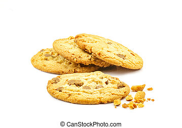 Closeup of almond chocolate cookie
