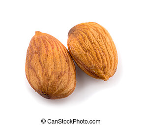 Closeup of almonds an isolated on the white background