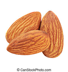 Closeup of almonds, isolated on the white background. Top view