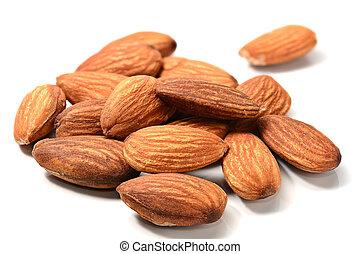 Closeup of Almonds on white