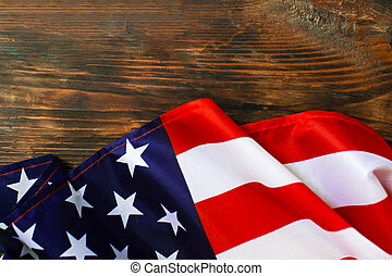 American flag on a old wooden background.