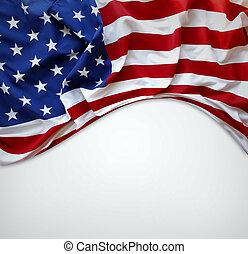 American flag - Closeup of American flag on plain background