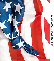 American flag with knot