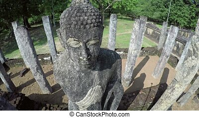 Closeup of an Ancient Religious Statue at Polonnaruwa Ruins