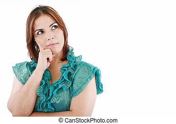Closeup of an attractive young woman thinking, isolated on white background.