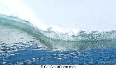 Closeup of an ice floe melting away