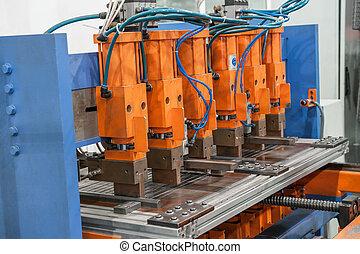 closeup of an industrial welding machine