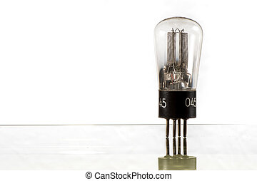 Closeup of an old electronic vacuum tube