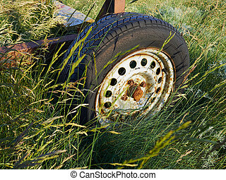 Old rusty car wheel mount in a green field
