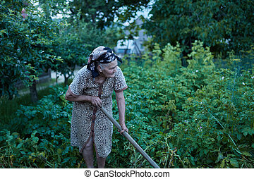 Closeup of an old woman in the garden