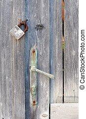 Closeup of an old wooden door