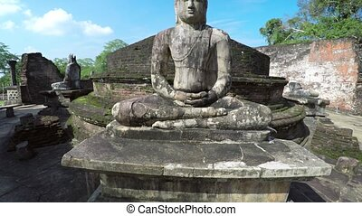 Closeup of Ancient Buddha Sculpture at Polonnaruwa's...