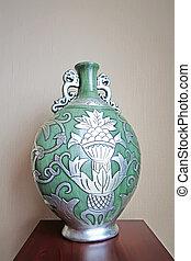 closeup of antique vase