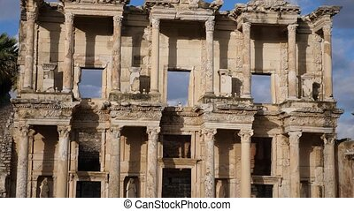 Closeup of architectural details of Celsus Library facade in ancient Greek settlement of Ephesus, Izmir, Turkey