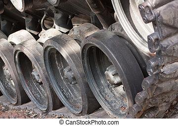 Closeup Of Army Tank Track Wheels, Vietnam