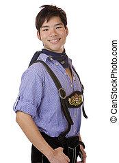 Closeup of Asian Boy dressed in Bavarian Oktoberfest cloth. ...