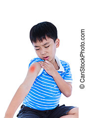 Closeup of asian child injured at shoulder. Isolated on ...