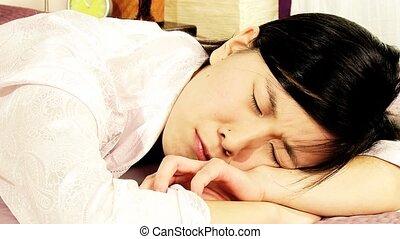 Closeup of asian woman crying