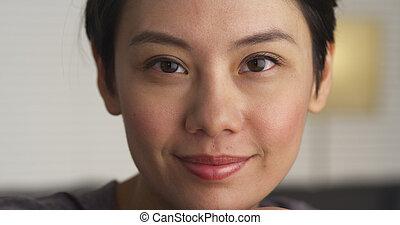 Closeup of Asian woman's face