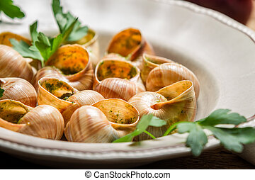 Closeup of baked snails with garlic butter