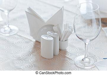 Closeup of banquet table