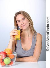 Closeup of beautiful blond woman drinking fruit juice