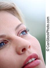 Closeup of beautiful blond woman