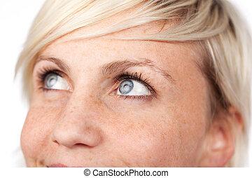 Closeup Of Beautiful Blue Eyed Woman