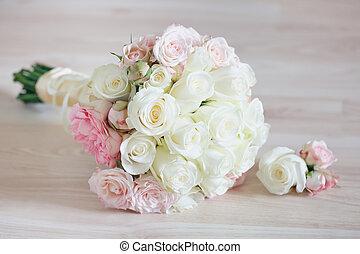 Closeup of Beautiful Bridal Bouquet on floor.