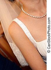 Closeup of beautiful bride