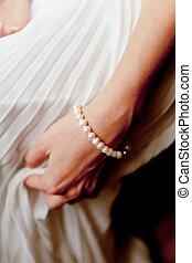 Closeup of beautiful brides hand