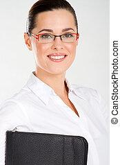 closeup of beautiful businesswoman