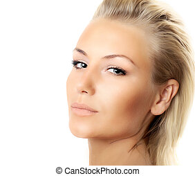 Closeup of beautiful female face isolated