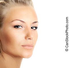 Closeup of beautiful female face isolated