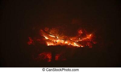 Closeup of beautiful glowing embers at fireplace